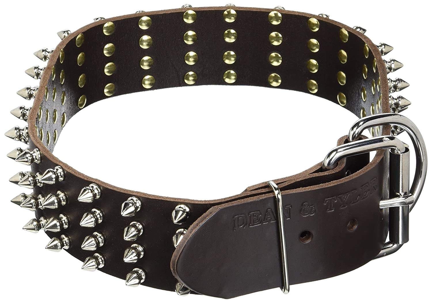 Dean and Tyler 4 Row Spikes , Extra Wide Dog Collar with Strong Nickel Spikes Brown Size 32-Inch by 2-1 4-Inch Fits Neck 30-Inch to 34-Inch