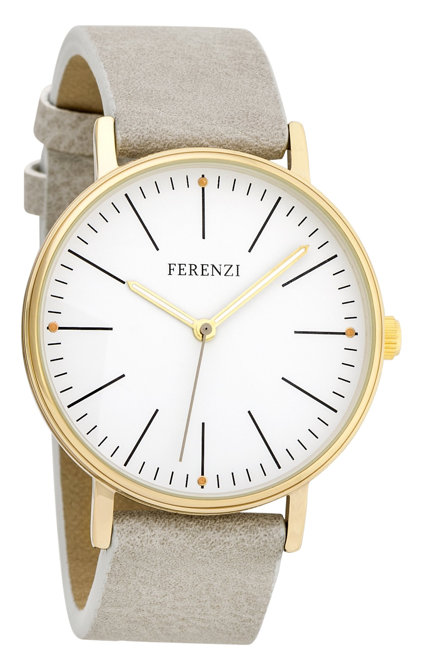 Women's Watches by Ferenzi - Minimalist Gold And Grey PU Leather Watch - Make Every Second Count - FZ17202