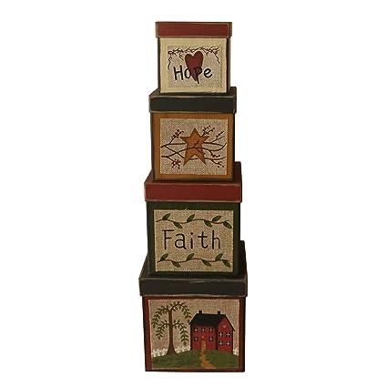 Juego de 4 cajas de cartón para nido cuadradas con diseño de la esperanza