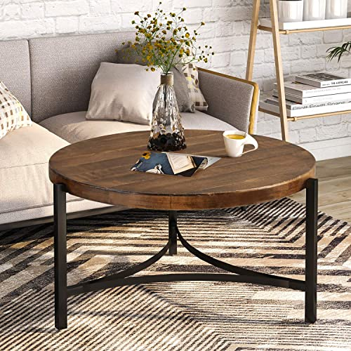 P PURLOVE Round Coffee Table Rustic Style Table with Wood Desktop Metal Frame for Living Room Brown and Black