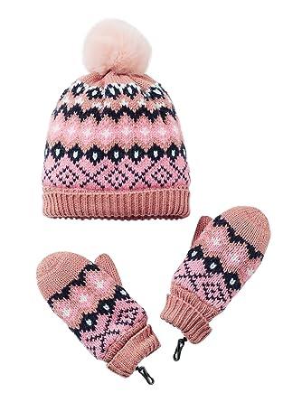 59d2d0bf4d2 Vertbaudet Bonnet fille + snood + gants ou moufles jacquard Rose foncé  imprimé 12 14