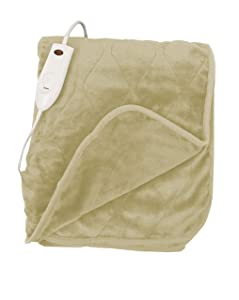 """Quilted Secure Comfort Technology Electronic Heated Throw Blanket 51"""" x 63"""" 3 Heat Settings Auto Shut Off Fast Heating for Full Body Warming (Taupe)"""