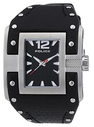 Amazon.com: Police Mens PL-13401JS/02 Avenger Stainless-Steel Black Leather Watch: Watches