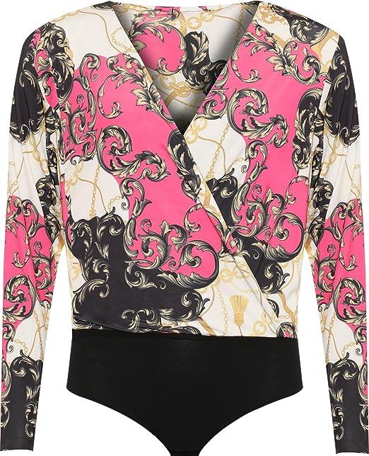 New Plus Size Ladies Baroque Scarf Print Long Sleeve Plunge Wrap Womens Bodysuit