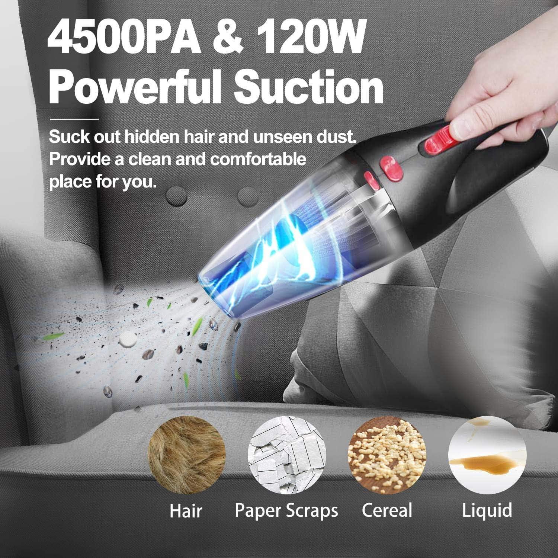 Casa 120W 4500PA Aspirabriciole Bagnata e Asciutta con Luce a LED Multifunzione Portatile Aspirapolvere Senza Fili con Filtro HEPA Lavabile per Auto Ufficio Aspirapolvere per Auto