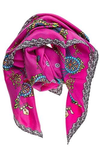 d Este pañuelos fulares bufanda de mujer en seda nuevo corona fuxia