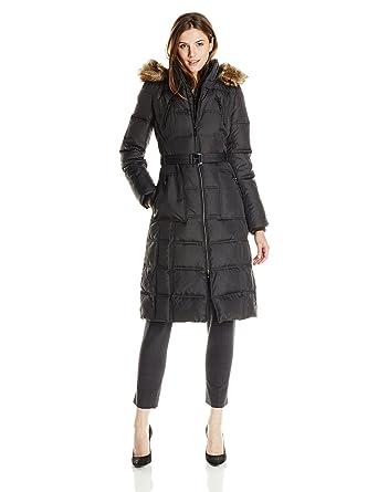 Amazon.com: Kensie Women's Long Maxi Down Coat with Faux Fur Trim ...