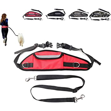 GARTOL Adjustable Hands Free Dog Leash-Heavy Duty Dog Leash for Walking Training Hiking Running with Reflective Adjustable Waist Pocket,Suitable for Medium to Large Dogs