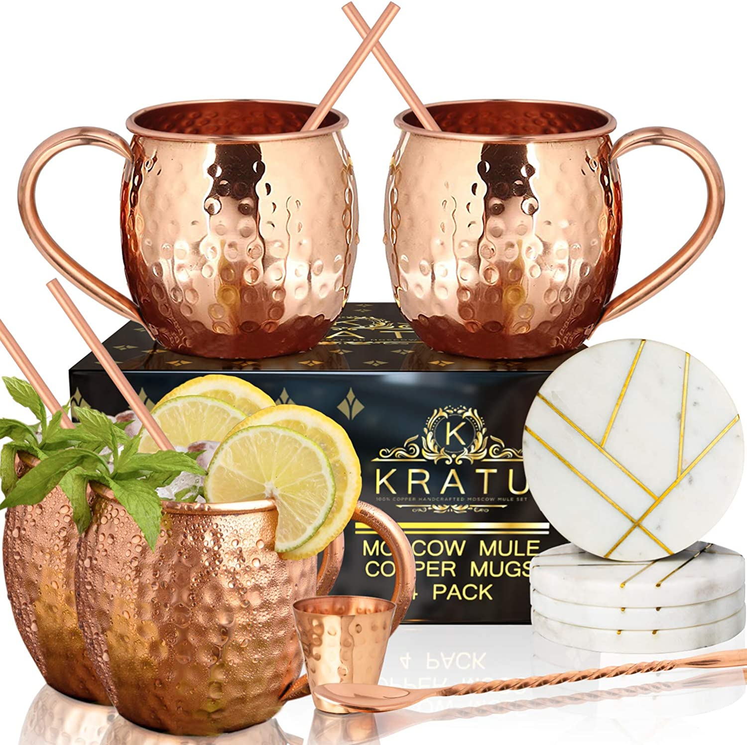 Moscow Mule Copper Mugs 18 oz - Set of 4. With Real Marble Coasters. 100% HANDCRAFTED Pure Food Safe Copper Mug Cups | Gift Set - 4 Straws, 4 Marble Coaster, Shot Glass, Stirrer | KRATU