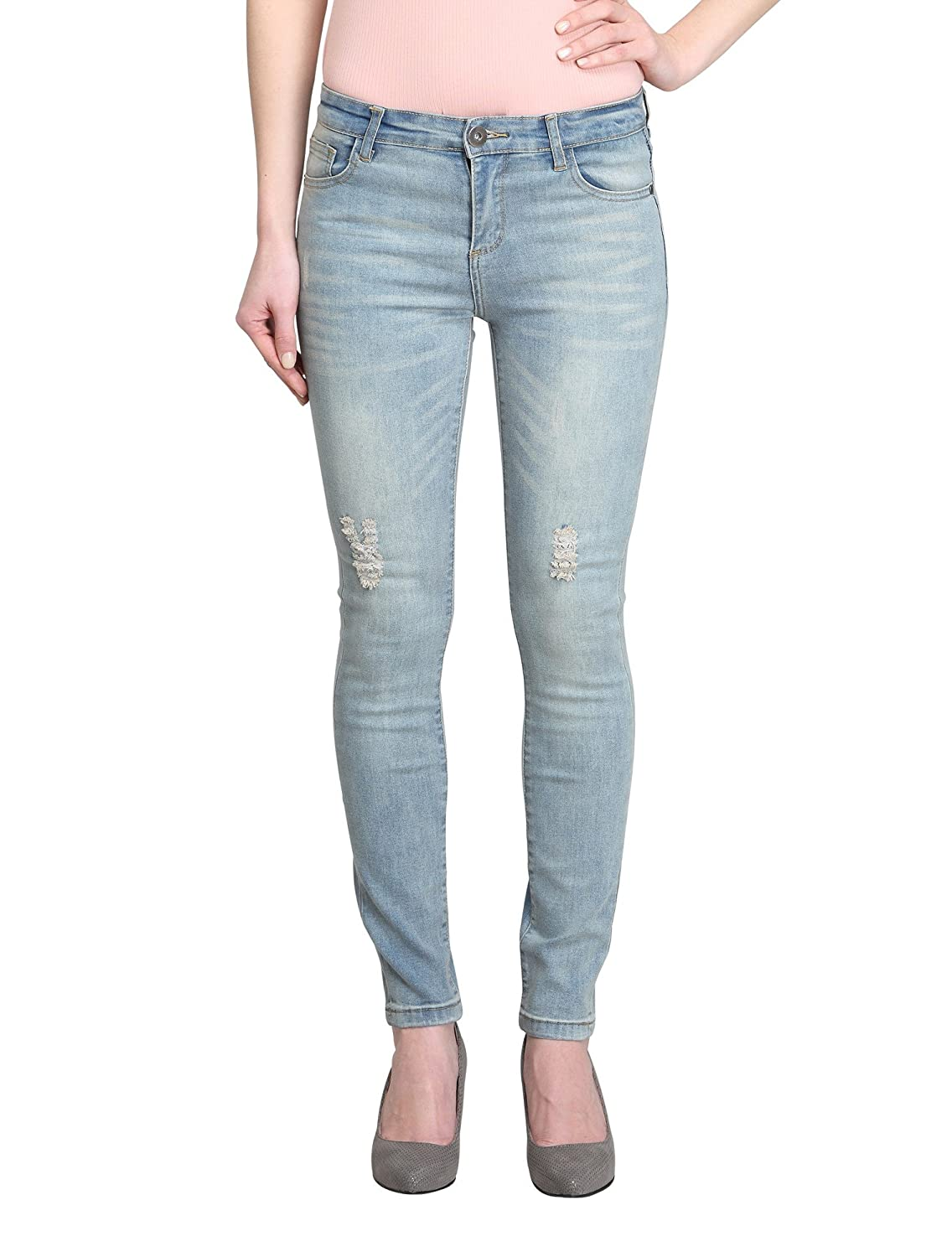 82473edb9 Allee Jeans Women's Distressed Light Blue Mid-Rise Skinny Ankle Jeans  (Zinnia-AK