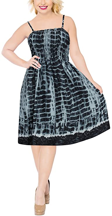 LA LEELA Soft Printed Hawaiian Cruise Skirt Slit Tube Dress Black 1096 One Size at Amazon Womens Clothing store: