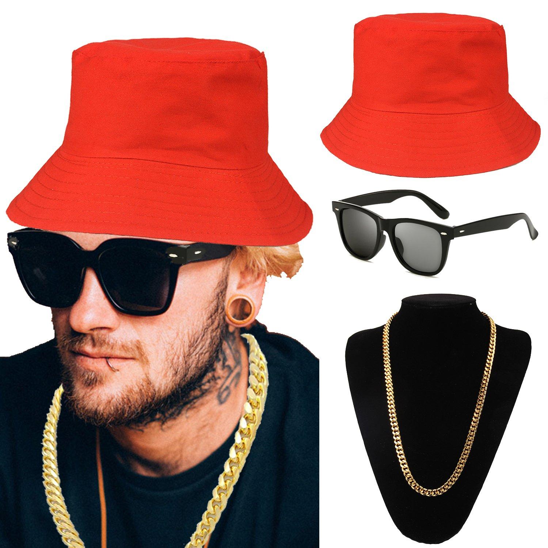 80s/90s Hip Hop Costume Kit - Cotton Bucket Hat,Gold Chain Beads,Oversized Rectangular Hip Hop Nerdy Lens Sunglasses (OneSize, Red)