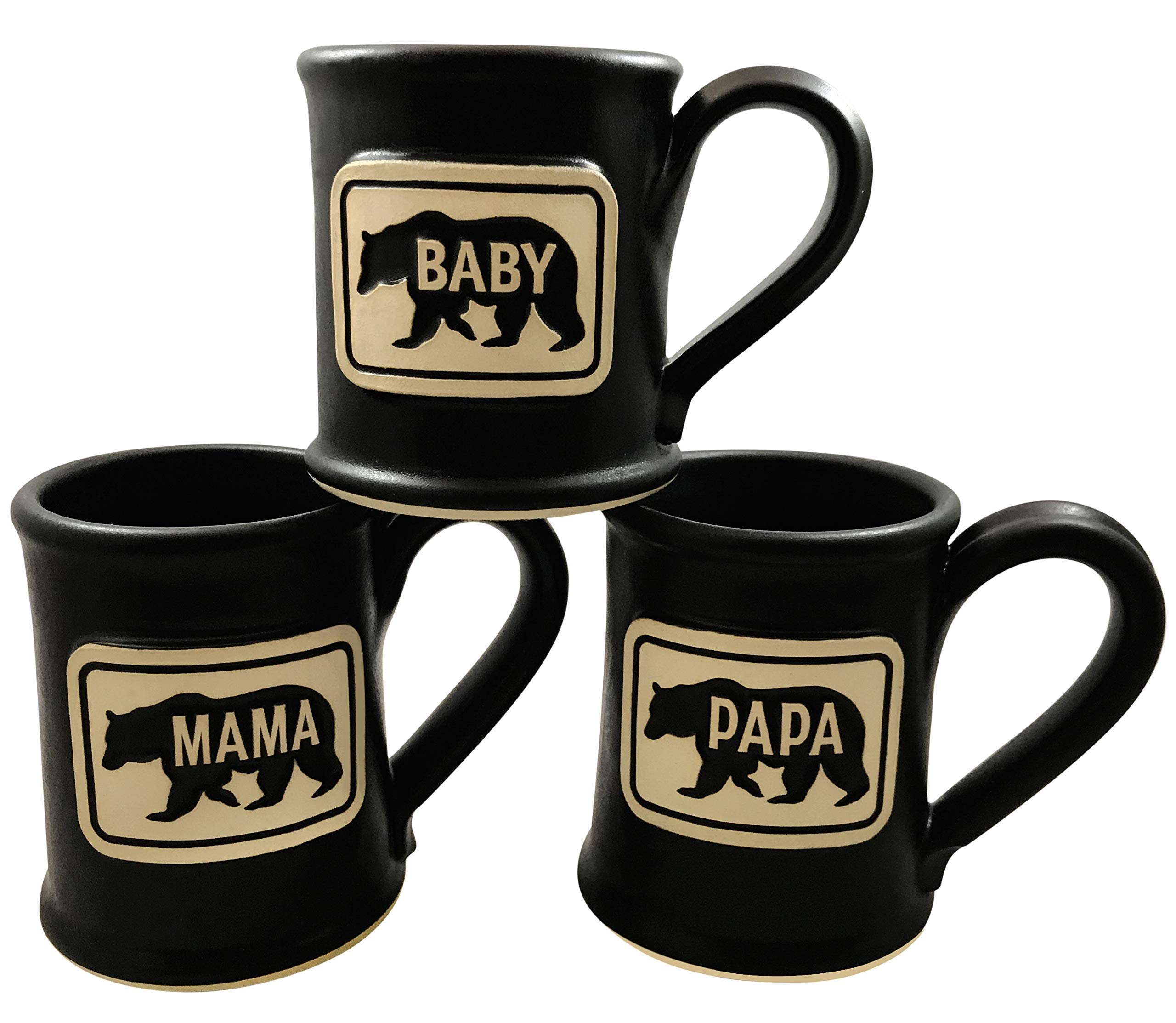 Great Gift for New Parents – Set of Papa Bear, Moma Bear, and Baby Bear Mugs – Handmade In The USA by Uncommon Clay