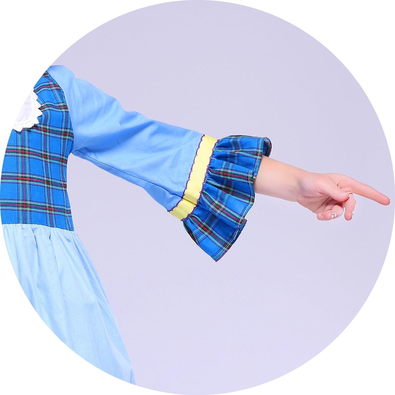 Kseniya Kids Big Little Girls Dresses Puff Sleeve Plaid Patchwork Girl Festival Dress Buttons