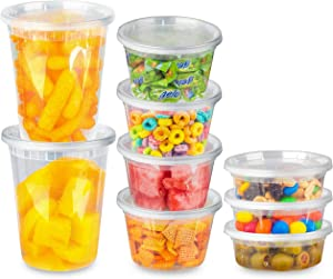 Stock Your Home Plastic Food Containers With Lids (36 Pack) - 8oz, 16oz, 32oz - Microwavable & Freezer Safe - BPA Free Stackable Combo Pack - Reusable Deli Containers - Leakproof & Airtight Lids