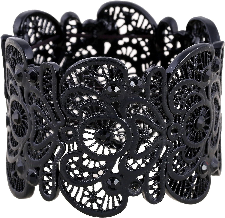Charcoal Grey Short Lace Wrist Cuff Bracelet Stretch for Women
