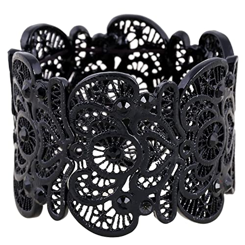 48ef8a6152d D EXCEED Women's Black Statement Bracelet Lace Filigree Cuff Bracelet  Rhinestone Stretch Bangle Bracelet for Ladies