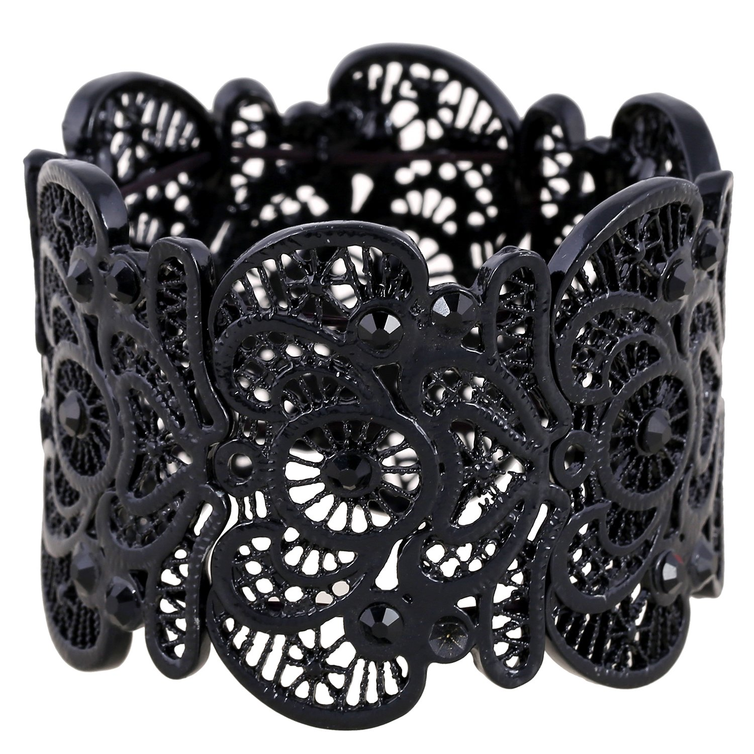 D EXCEED Women's Black Statement Bracelet Lace Filigree Cuff Bracelet Rhinestone Stretch Bangle Bracelet for Ladies 7''