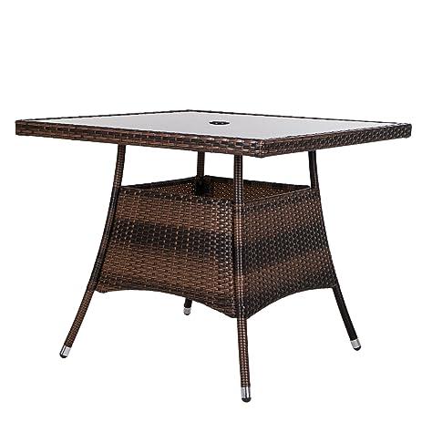 LUCKUP 36u0026quot; X 36u0026quot; Patio Outdoor Wicker Rattan Dining Table  Tempered Glass Top Umbrella