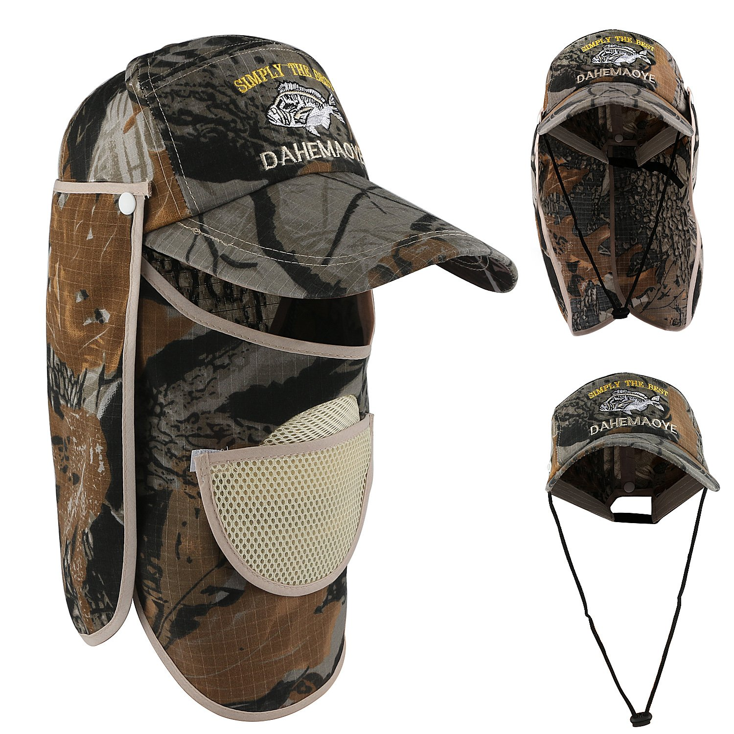 7ae8c04af287f Outdoor Fishing Hat Sun Cap 360°UV Protection Sun Cap Removable Neck Flap  Face Cover Cap for Men ...