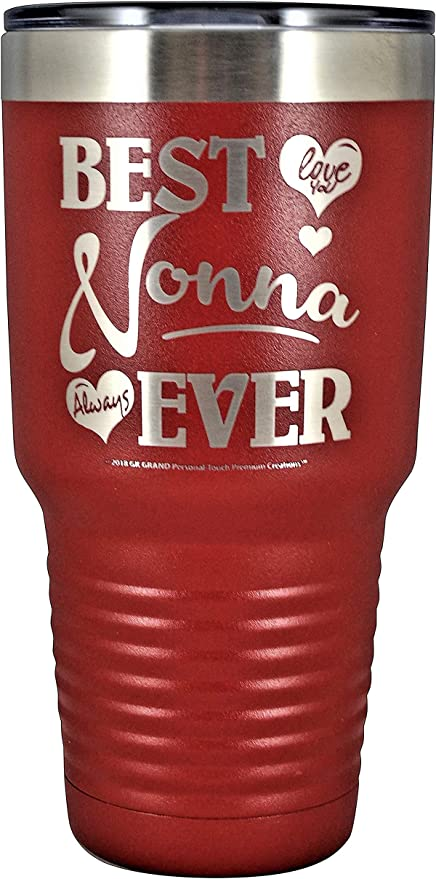 """/""""BEST NONNA EVER ~ LOVE YOU/"""" Stainless Steel Vacuum Insulated Tumbler Travel Coffee Mug GK Grand Designed /& Engraved Hot Cold Birthday Mother/'s Day Christmas NONNA GIFT Pastel Lavendar, 30oz"""