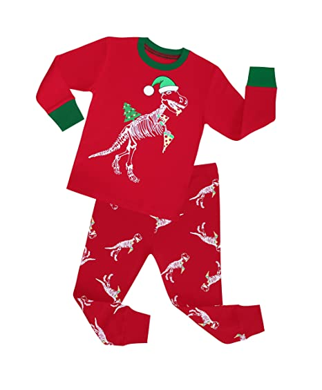 TinaLuLing Chirstmas Dinosaur Pajamas Sets 2pc Santa Dragon Chirstmas Sleepwear Boys Pyjamas(2 Years)