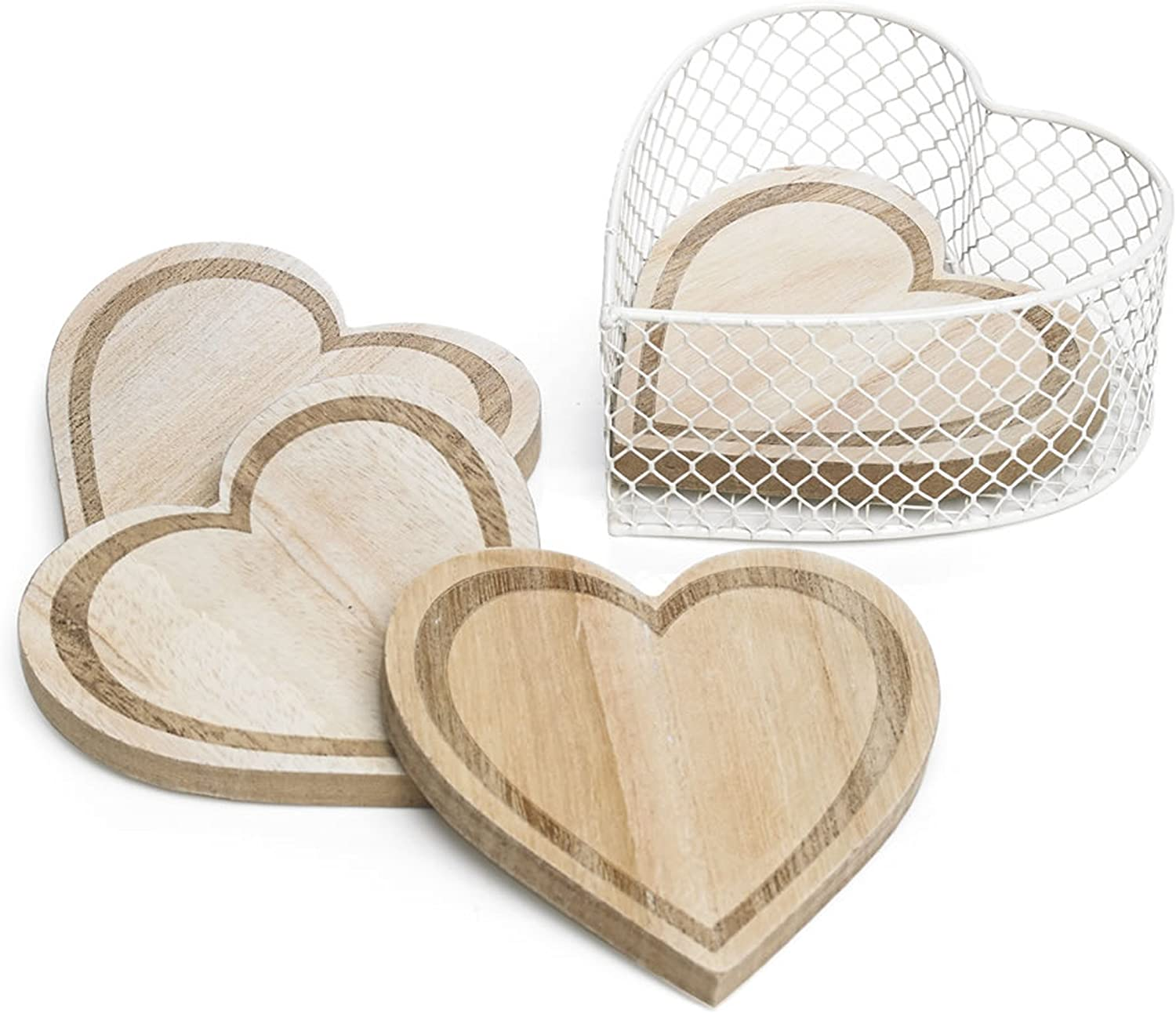 CVHOMEDECO. Engraving Heart Shape Wooden Coasters Set with Basket Holder for Wine Glasses, Beer, Whiskey, Cocktail, Coffee, Tea, Beverages, Hot and Cold Drinks, 4 x 3-7/8 Inch, Set of 4