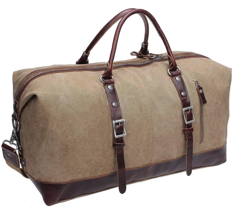 Iblue Unique Designed Handle Genuine Leather Trim Overnight Weekender Bag Canvas Shoulder Travel Duffel Gym Tote#B003 Grey) #B003 grey XL 21' '