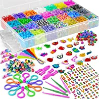 Loom Bands – HUGE Premium Rubber Band Bracelet Kit - 11000 Vibrant Rainbow Color Bands, 600 S-Clips, 200 Beads, 30 PVC Charms, 52 ABC Beads, 10 Backpack Hooks, 5 Crochet, Tassels, Hair Clips – 2Y Loom