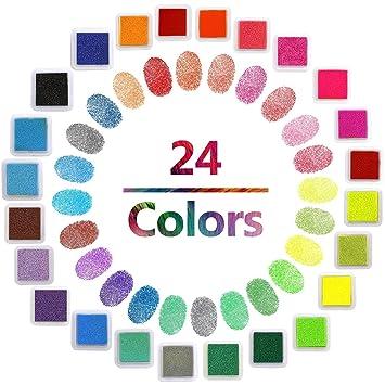 Iceblueor. Juego de 24 sellos de tinta de colores para manualidades ...