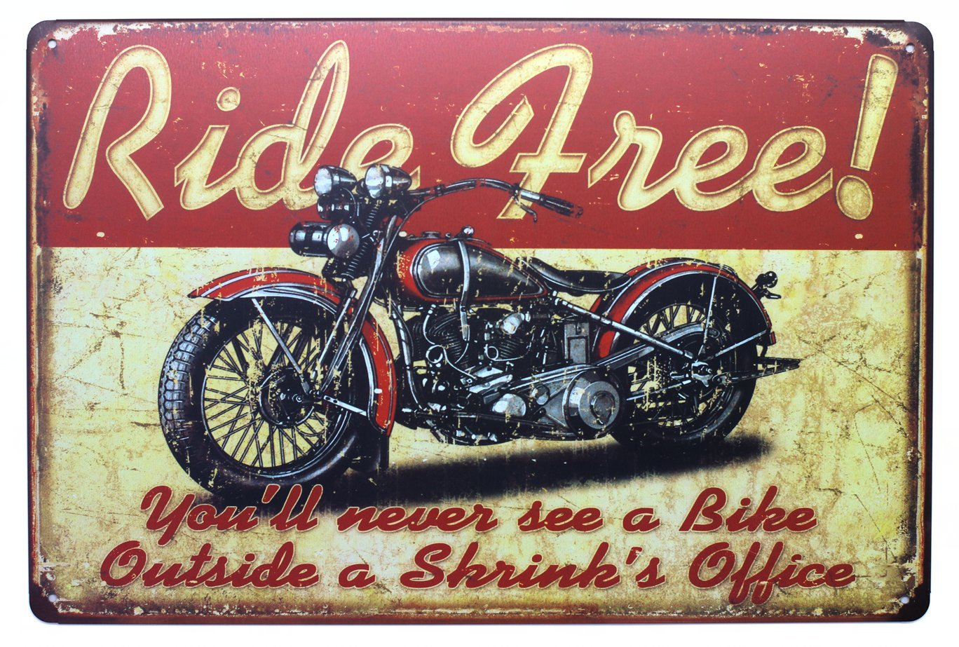 SUMIK Ride Free Motorcycle Metal Tin Sign Vintage Art Poster Plaque Garage Living Room Home Wall Decor
