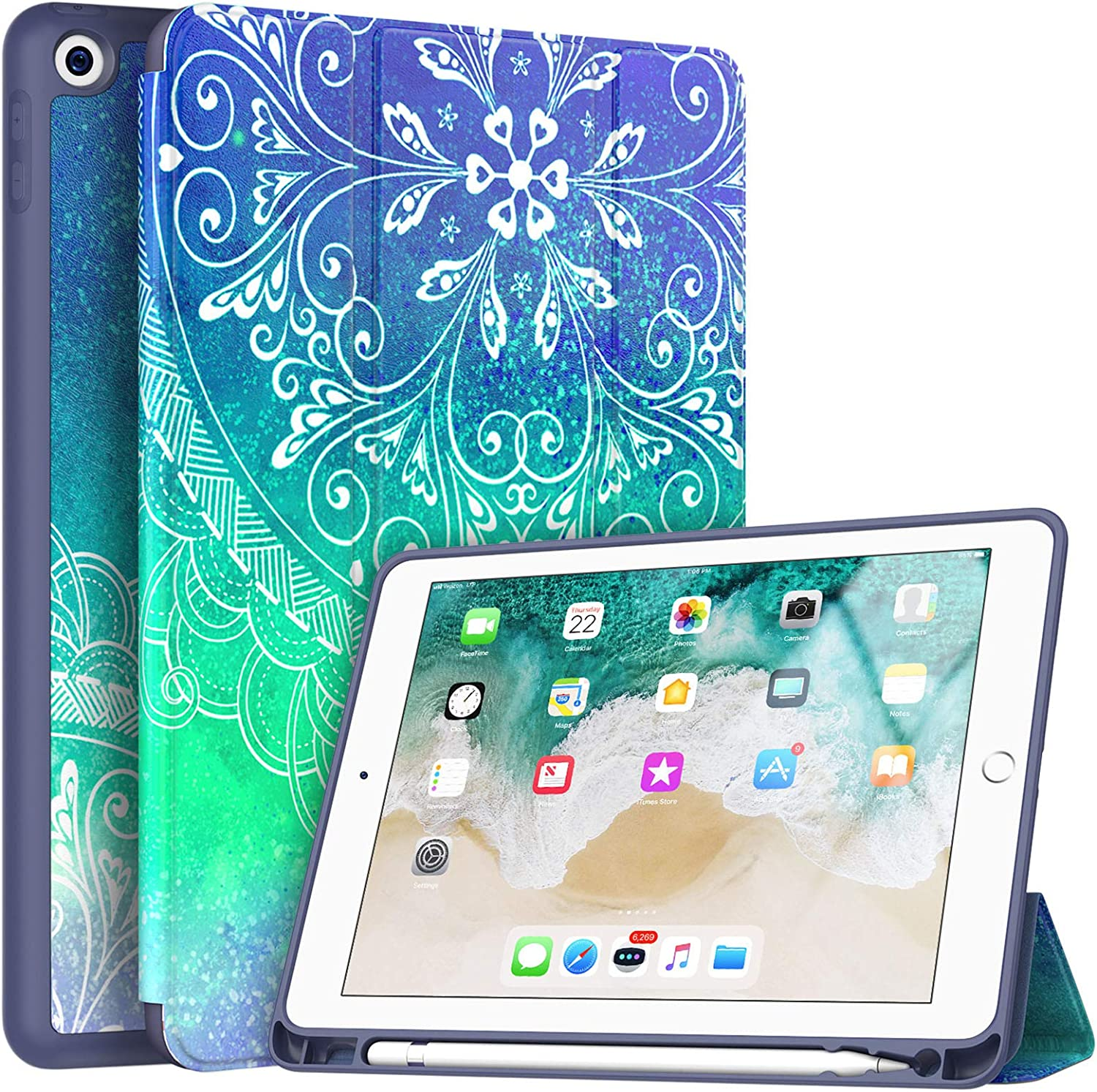 Soke iPad 9.7 2018/2017 Case with Pencil Holder, Trifold Stand with Shockproof Soft TPU Back Cover and Auto Sleep/Wake Function for iPad 9.7 inch 5th/6th Generation,Blue Mandala