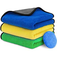 CUUWE Ultra Thick Microfiber Cleaning Cloths, 16'' x 16'' Thickened and Absorbent Microfiber Towels with Great Bibulous…