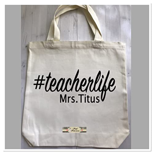 Amazon.com: Personalized Canvas Tote Bag, Teacher Appreciation Gift ...