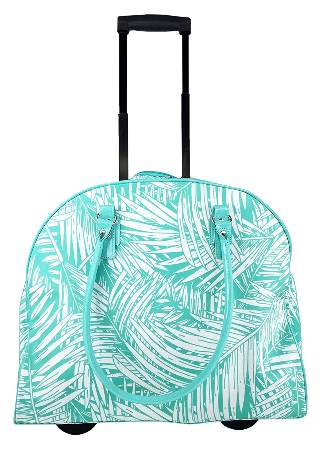 Trendy Flyer 18 Tote Bag Rolling Luggage Overnight Case Duffel Leaf Turquoise