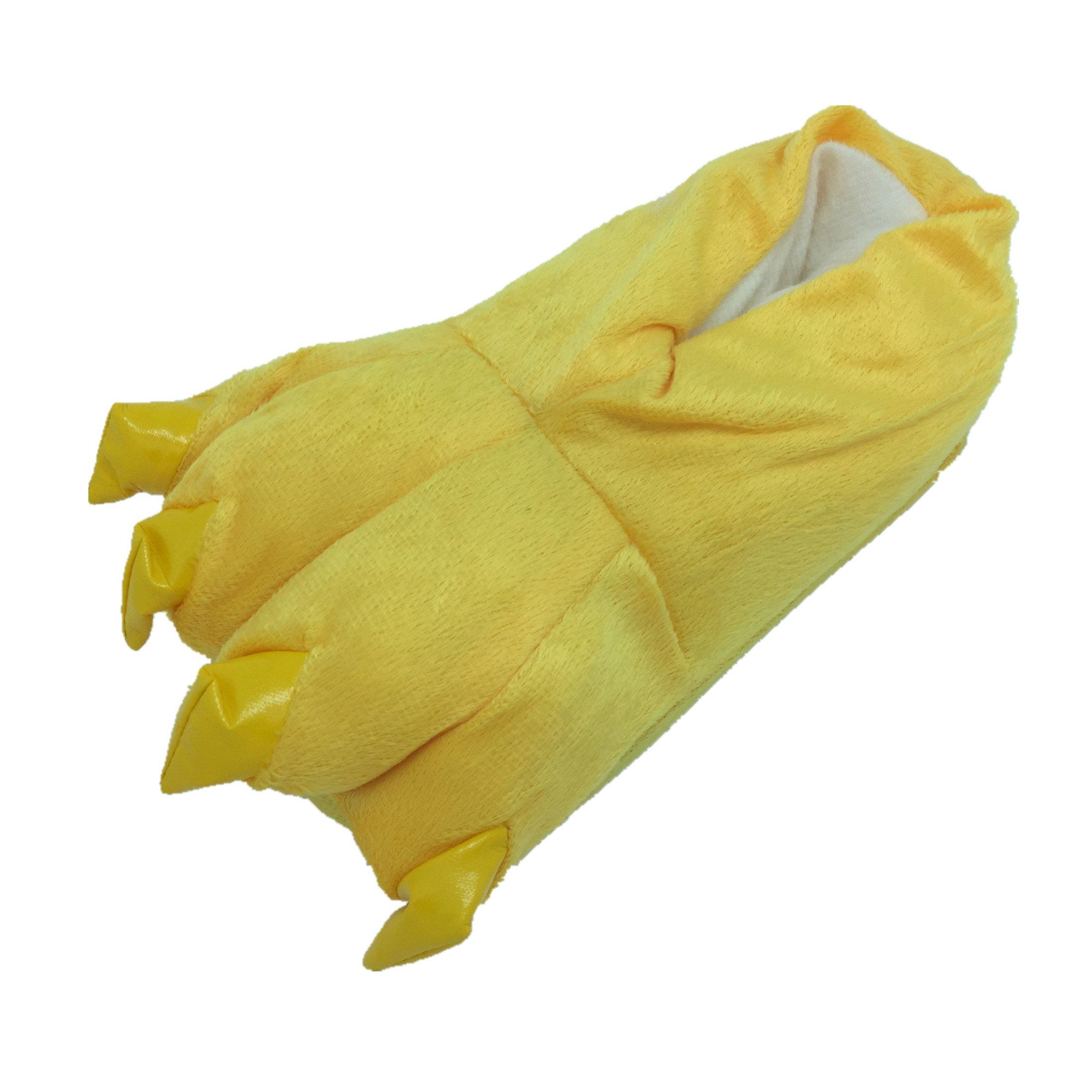 Plush Warm House Shoes Animal Feet Slippers Costume Yellow M