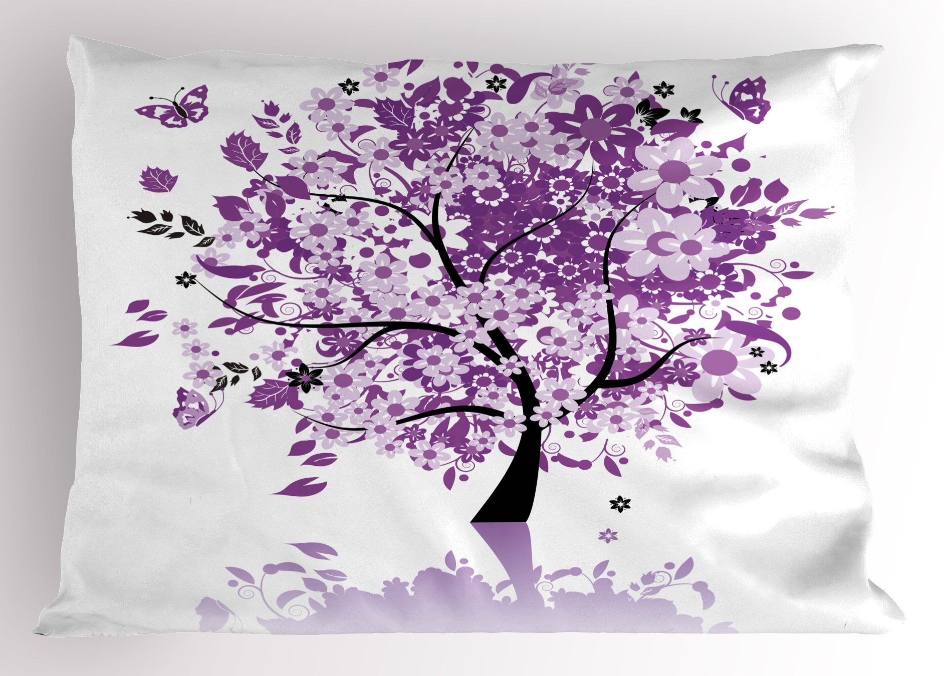 Ambesonne Nature Pillow Sham, Spring Tree of Life Sacred Woods with Blooming Flower and Butterfly Flying Romance, Decorative Standard Size Printed Pillowcase, 26 X 20 inches, Lilac Purple