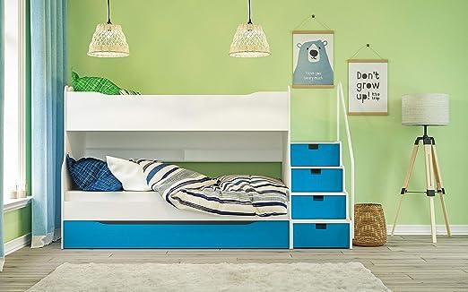 Litera MAX 4 con cajón Escaleras en Color Blanco/Azul: Amazon.es: Juguetes y juegos