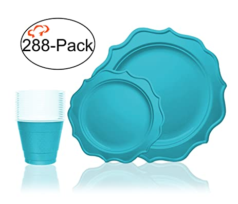 Tiger Chef 288-Pack Turquoise Color Heavy Duty Scalloped Rim Disposable Party Supplies Set for  sc 1 st  Amazon.com & Amazon.com: Tiger Chef 288-Pack Turquoise Color Heavy Duty Scalloped ...