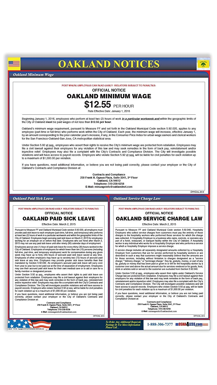 Oakland Minimum Wage/City Ordinances Poster