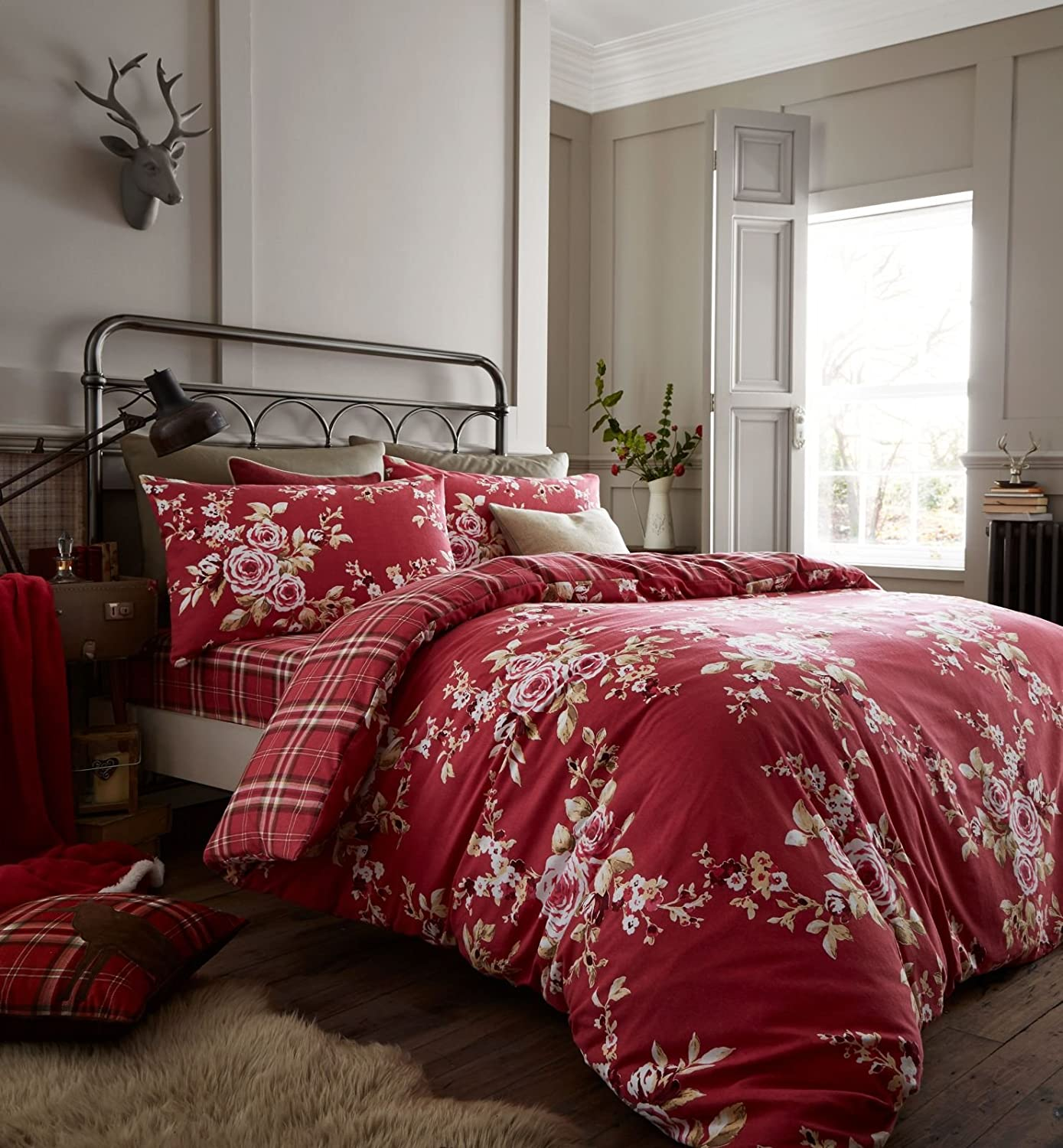 Catherine Lansfield Canterbury Brushed Check Duvet Set, Dark Red, Double Turner Bianca BD/28239/W/DQS/DRE