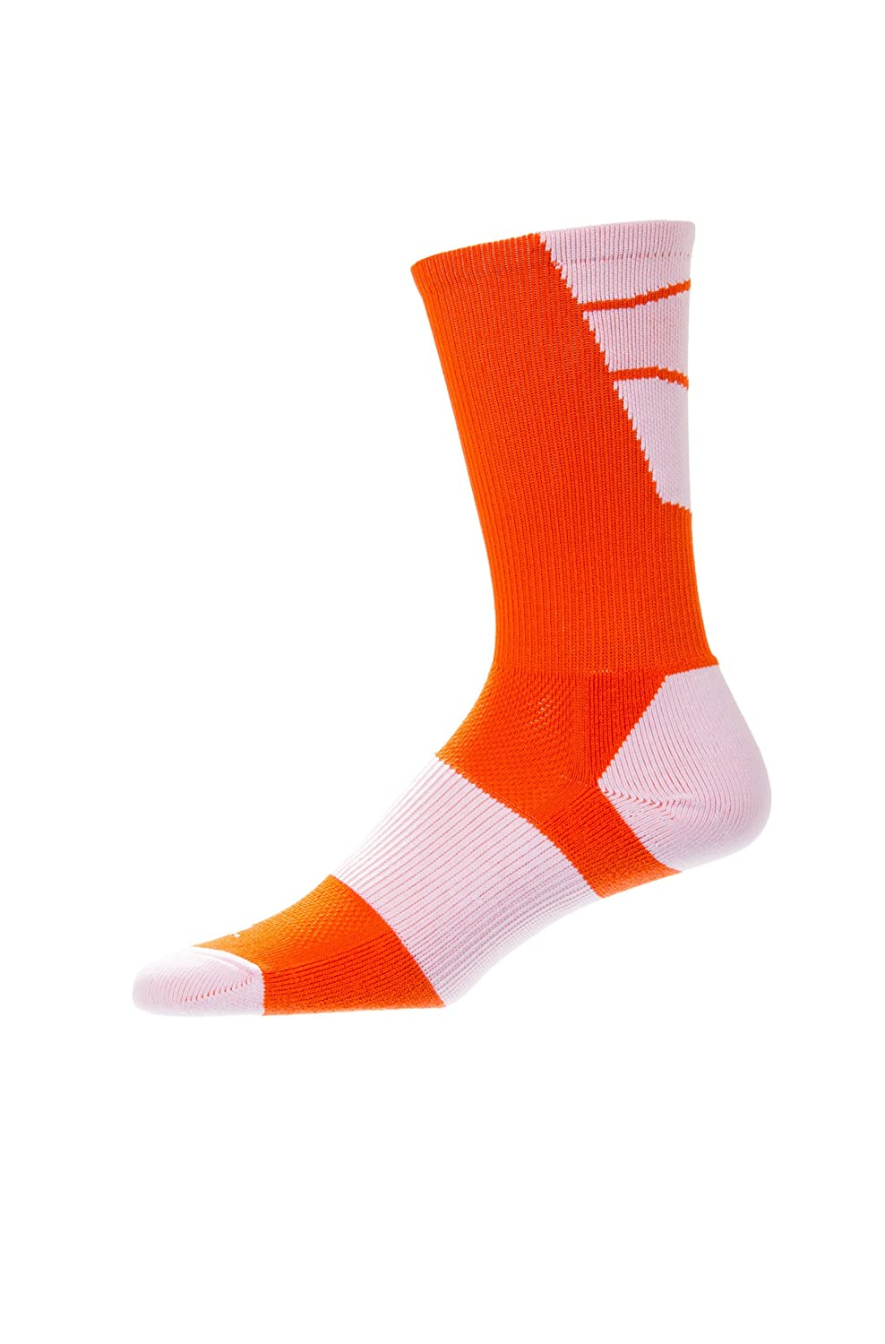 CSI Point Guard Performance Crew Socks Made In The USA Bt Orange/White 6MAN13022