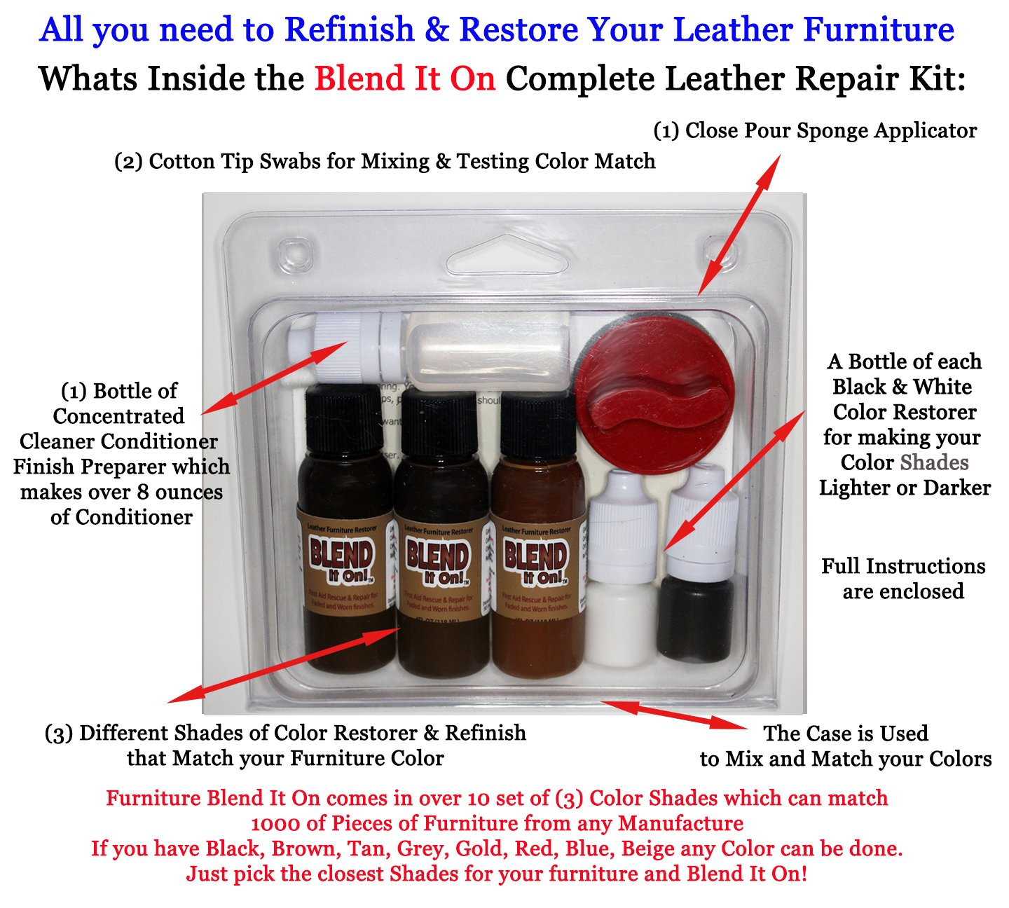 Leather Max Complete Leather Refinish, Restore, Recolor & Repair Kit/Now with 3 Color Shades to Blend with/Leather & Vinyl Refinish (Beach Mix) by BlendItOn (Image #3)