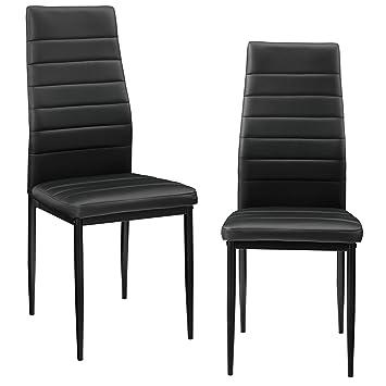 [en.casa]®] 2 x sillas de Comedor (Negras) tapizadas de Cuero sintético Comedor/salón/Cocina - Set
