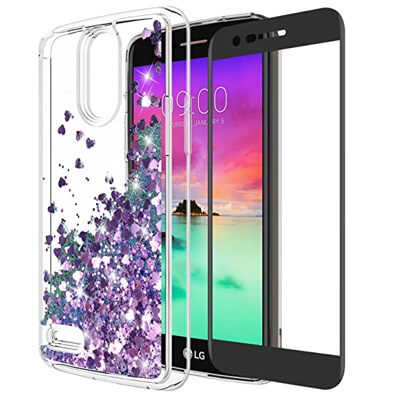 new styles 72ca5 6e445 LG Stylo 3 Case, LG Stylo 3 Plus Case With Tempered Glass Screen Protector,  Rosebono Quicksand Glitter Sparkly Bling Cute Liquid Shiny Luxury TPU ...
