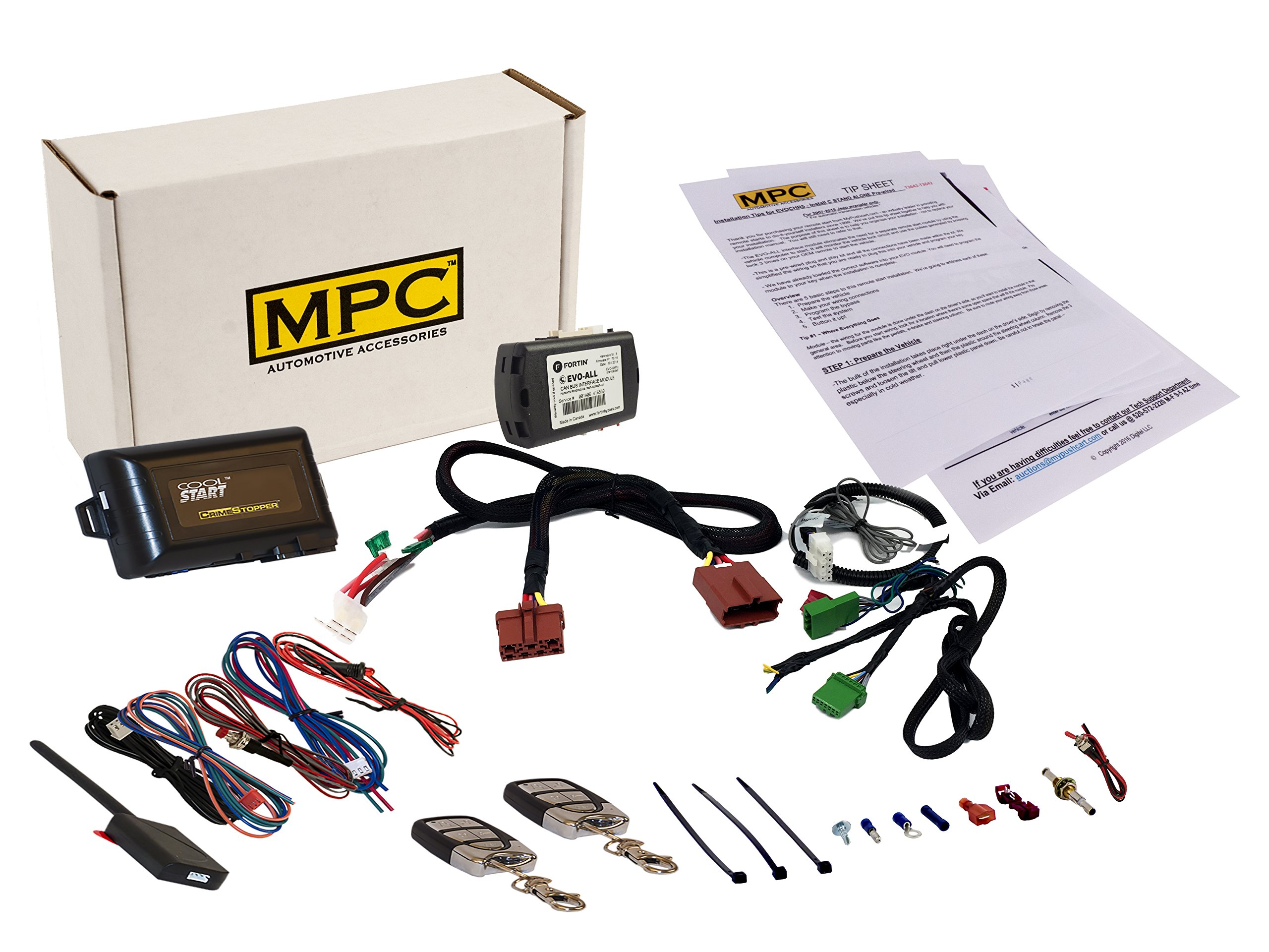 MPC 5-Button Keyless Entry Remote Start Kit for 2011-2015 Acura RDX - with Bypass - Includes T-Harness - Plug-n-Play