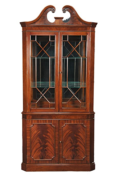 Exceptionnel Rich Mahogany Corner Curio Display Cabinet