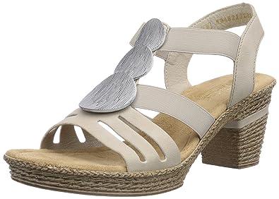 ac39d9eb5310 Rieker Damen 69068 Women Open Toe Offene Sandalen mit Keilabsatz, Beige  (Chalk   60