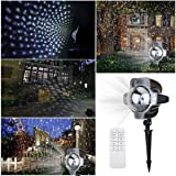 Christmas Snowfall Lights Projector,Star Rotating Waterproof White Snowflake Slide Show Led Snowfall Fairy Landscape Shower Projection Lighting for Outdoor Wedding Xmas Holiday Party Disco Decorations
