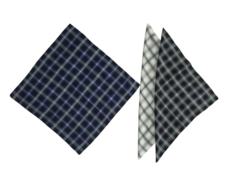 KINGDESON Men's Elegent Checkered Cotton Hankie Hankerchiefs gift set 3PCS by KINGDESON (Image #2)